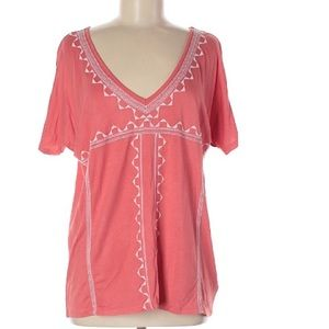 Old Navy Boho White Embroidered Coral Top